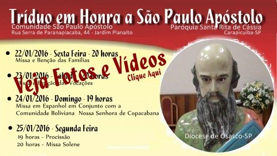 FESTIVIDADE SOLENE DO PADROEIRO SÃO PAULO APÓSTOLO-2016